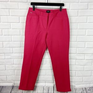 WHBM White House black slim ankle pink pants 10